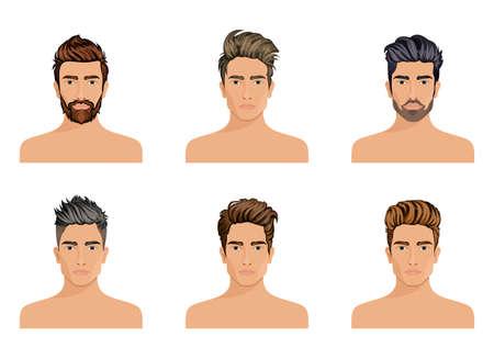 Les hommes utilisés pour créer le style de cheveux de la barbe de caractère, les hommes de moustache mode, l'image, le visage de Hipstel élégant, options d'utilisation. Vector illustration. Banque d'images - 64387549