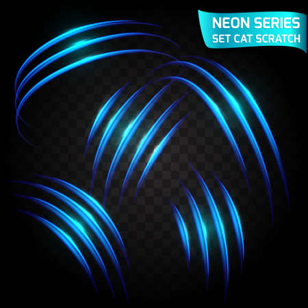 curve claw: Neon Series set of cat scratch. Bright neon glowing effect. Transparent background. Abstract glowing crack, imitation effect speed. Vector illustration. Illustration