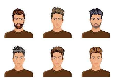 Los hombres que se utilizan para crear el estilo de pelo de la barba carácter, hombres bigote de moda, imagen, cara Hipstel elegante, las opciones de uso. Ilustración del vector.
