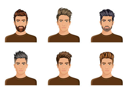 Men used to create the hair style of the character beard, mustache men fashion, image, stylish hipstel face, use options. Vector illustration. Иллюстрация