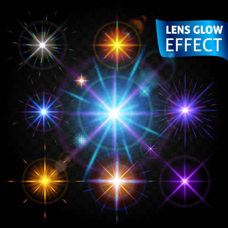 Lens glow effect. Set of glowing light reflections realistic bright light lens effects.  sc 1 st  123RF Stock Photos : glow lighting effect - azcodes.com