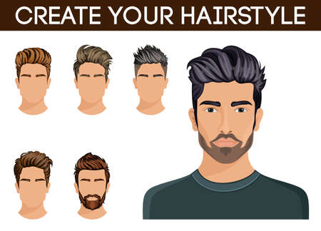 stylish hair: Men hair style symbol hipster beard, mustache men stylish, modern. Vector illustration. Illustration