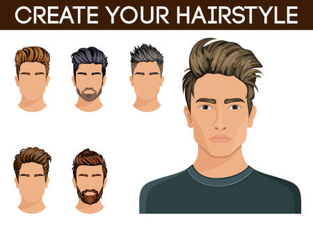 stylish hair: Men hair style symbol beard, mustache beard hipster men. Vector illustration.