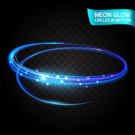 Neon Gloedcirkels in motie vage randen, heldere gloedglans, magische gloed, kleurrijke ontwerpvakantie. Abstracte gloeiende ringen langzame sluitertijd van het effect. Abstracte lichten in een cirkelmotie.