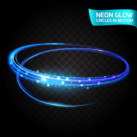 shutter speed: Neon Glow circles in motion blurred edges, bright glow glare, magical glow, colorful design holiday. Abstract glowing rings slow shutter speed of the effect. Abstract lights in a circular motion. Illustration