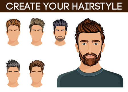 Create, change of hairstyle choices. Men hair style symbol hipster beard, mustache stylish, modern. Vector illustration.