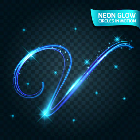slow motion: Neon Glow line in motion blurred edges, neon letters flashing, magical glow, colorful design holiday. Abstract glowing rings slow shutter speed of the effect. Abstract lights in a circular motion. Illustration