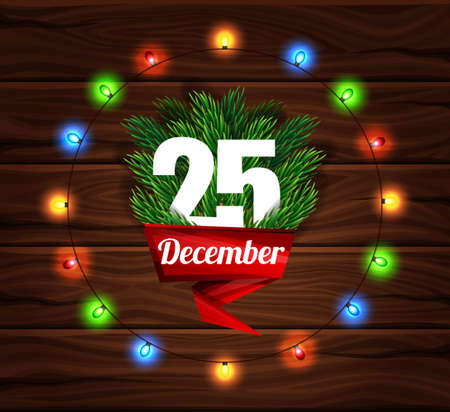 wonders: Christmas card on a background of dark wooden planks. Merry Christmas Letter. Realistic fir branches. lens glow effect. Vector illustration. Illustration
