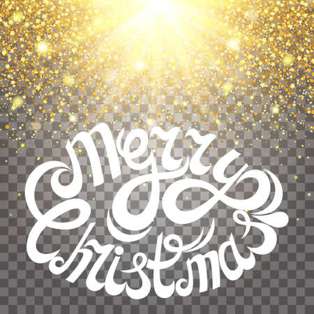 luster: Effect of particles flying on top of the gold luster dust sparks luxury design rich background. Merry Christmas Letter. glow effect on a transparent background. Luxury gold. Illustration