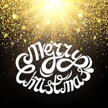 luster: Effect of particles flying on top of the gold luster dust sparks luxury design rich background. Merry Christmas Letter. The effect of sunlight illumination. Luxury golden texture.
