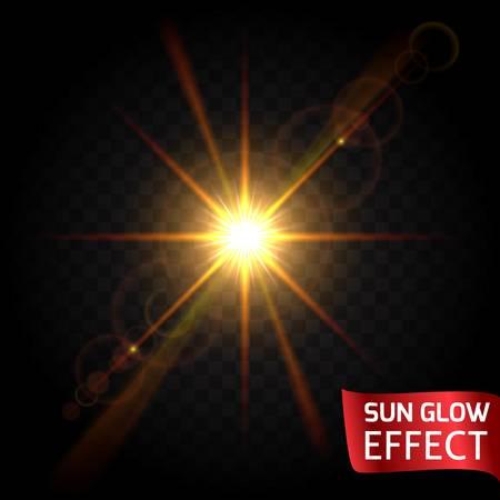 resplandor: Resplandor de Sun efecto conjunto sobre un fondo oscuro transparente. Salida del sol, puesta del sol, los rayos del fulgor. Brillante dispersión de luz que fluye. Ilustración del vector.