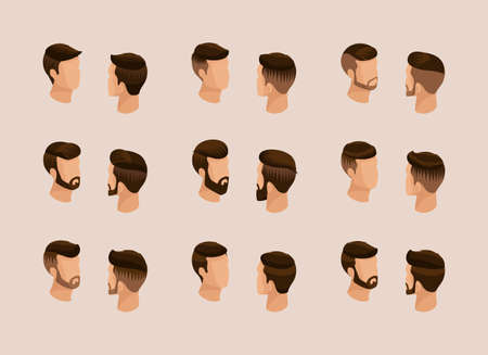 mens fashion: Popular isometric quality study, a set of mens hairstyles, hipster style. Fashion Styling, beard, mustache. Front view Rear view. Vector illustration.