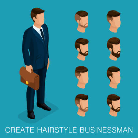 Popular isometric qualitative study, a set of mens hairstyles, hipster style. Fashion Styling, beard, mustache. Stylish modern young businessman. Vector illustration.