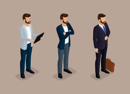 Isometric quality people with the study of details. Set business hipsters hairstyle, beard, mustache. Illustration