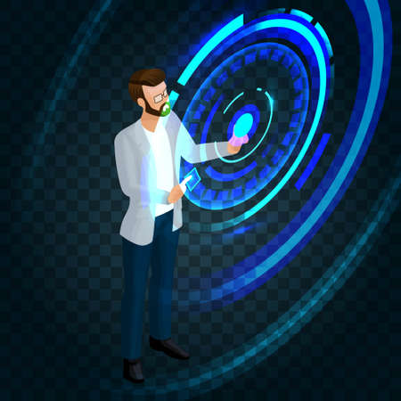 Trendy isometric stylish businessman working on the future of the screen, press a button, create business ideas, planning. Vector illustration