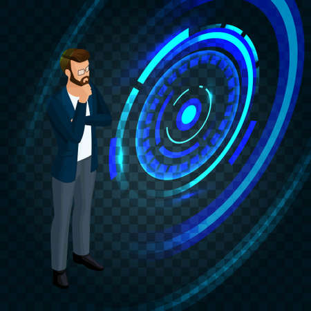 Trendy isometric businessman running on the screen of the future, to press the buttons, create business ideas, planning. Vector illustration