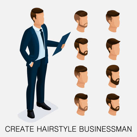 Trendy isometric set 2, qualitative study, a set of mens hairstyles, hipster style. Illustration