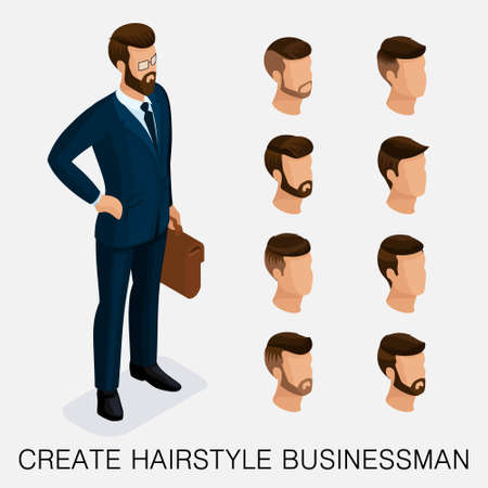 Trendy isometric set 1, qualitative study, a set of mens hairstyles, hipster style. Fashion Styling, beard, mustache. The style of todays young businessman. Vector illustration