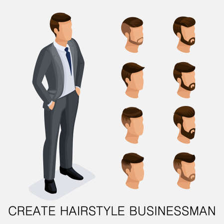 Trendy isometric set 6, qualitative study, a set of mens hairstyles, hipster style. Fashion Styling, beard, mustache. The style of todays young businessman. Vector illustration Illustration