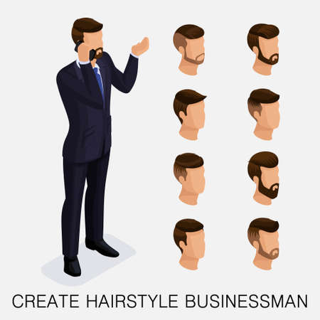 Trendy isometric set 5, qualitative study, a set of mens hairstyles, hipster style. Fashion Styling, beard, mustache. The style of todays young businessman. Vector illustration