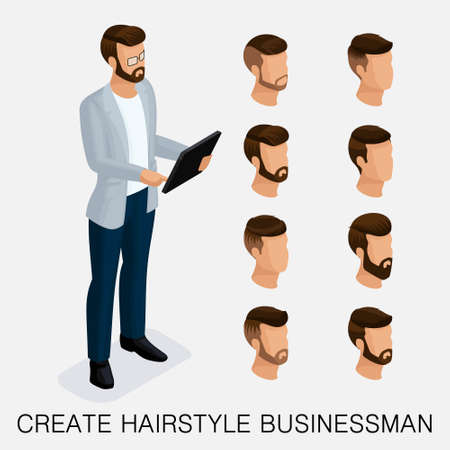 Trendy isometric set 4, qualitative study, a set of mens hairstyles, hipster style. Fashion Styling, beard, mustache. The style of todays young businessman. Vector illustration