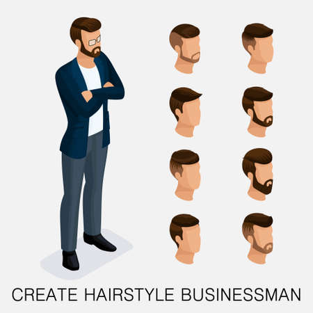 Trendy isometric set 10, qualitative study, a set of mens hairstyles, hipster style. Fashion Styling, beard, mustache. The style of todays young businessman.