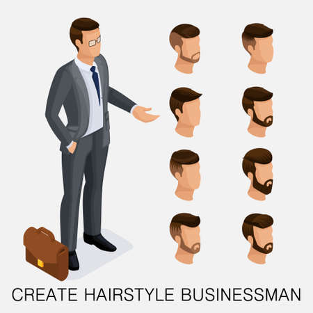 Trendy isometric set 9, qualitative study, a set of mens hairstyles, hipster style. Fashion Styling, beard, mustache. The style of todays young businessman.