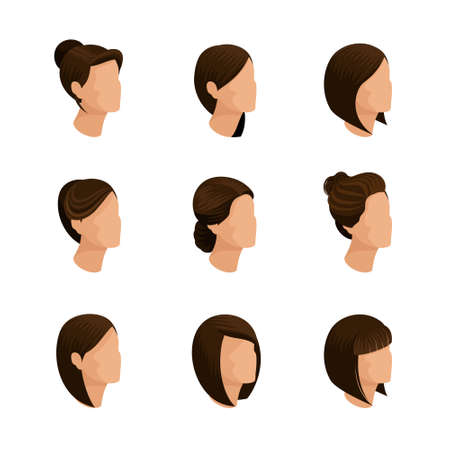 womens work: Trendy womens hairstyles Isometric isolated and a white background. Laying, hair style, hair color. Stylish modern young woman businessmen, high quality work. Vector illustration