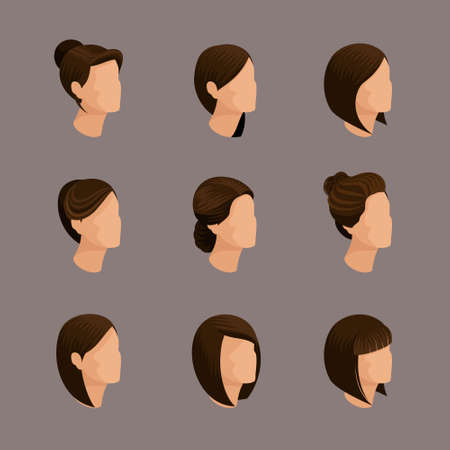 womens work: Trendy isometrics, womens hairstyles. Laying, hair style, hair color. Stylish modern young woman businessmen, high quality work. Vector illustration