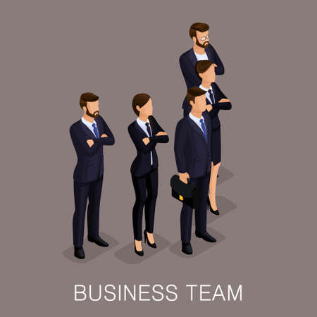 people: Trendy isometrics, woman and man on a beige background, isolated. The team of young business people, teamwork, cooperative labor. Serious group of modern stylish people. Vector illustration Illustration