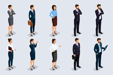 Ensemble isométrique d'hommes et de femmes en tenue professionnelle, d'un code corporatif d'entreprise. Hommes d'affaires sur un fond gris, isolé. Illustration vectorielle. Banque d'images - 72660300