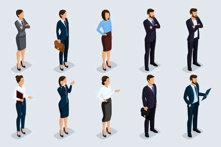 Isometric set of men and women in business attire, of a corporate code of business people. Businessmen on a gray background, isolated. Vector illustration.