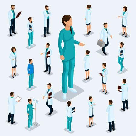 等尺性はトレンディーな人々。医療スタッフ、病院、医者、外科医。ほとんど看護婦、ビザの正面のための人々 明るい背景に分離された位置に立っ