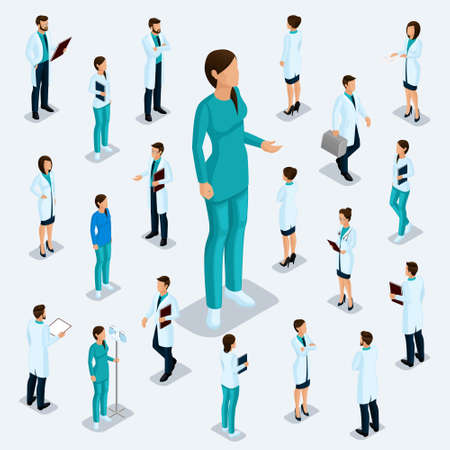 Trendy isometric people. Medical staff, hospital, doctor, surgeon. Most nurse, People for the front view of the visas, standing position isolated on a light background. Set 1