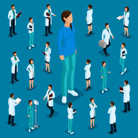 Trendy isometric people. Medical staff, hospital, doctor, surgeon. Most nurse, People for the front view of the visas, standing position isolated on a dark blue background.