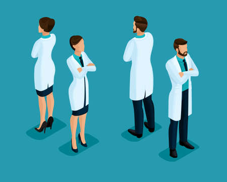 Trendy isometric people. Medical staff, hospital, doctor, nurse, surgeon. People front view rear view isolated on a blue background. set 3 Stock Photo