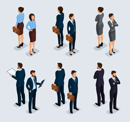 Trendy isometrics, isometric people. Businessmen, business woman in corporate clothing, stylish clothing. People behind a front view of visas, standing posture. Vector illustration Illustration