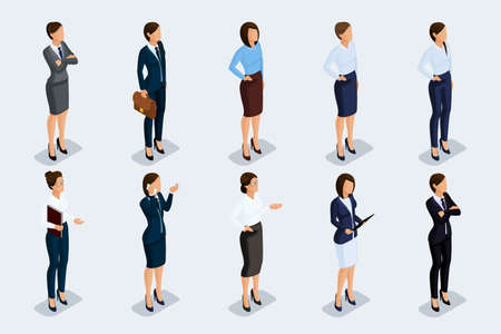 Isometric set of elegant beautiful business woman in business clothing. Business woman doing a job. The modern style of a business woman. Vector illustration Illustration
