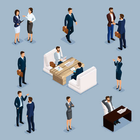 Isometric People Isometric businessmen, businessman and business woman, men in business suits in the process. Office furniture, laptop, computer, desk and ch