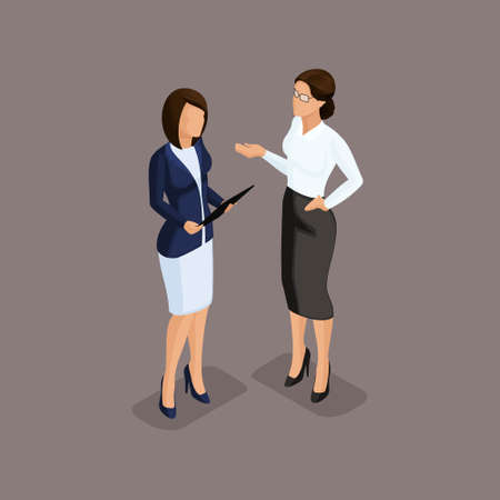 Isometric people isometric business woman holding talks, the chief scolds subordinates. Dress code on dark background isolated. Vector illustration. Illustration