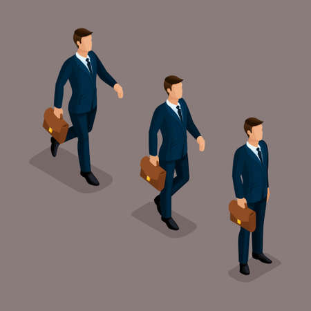People Isometric 3D, isometric business, business man clothing movement, in a hurry, is worth it. The sophisticated concept isolated on a dark background. Ilustração
