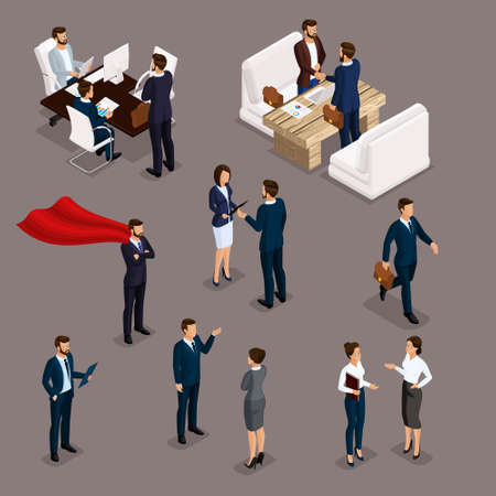 Isometric People Isometric businessmen, businessman and business woman, business clothes work, brainstorming, teamwork, business meeting on a dark background, isolated.