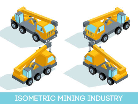 Isometric 3D mining industry icons set 7 image of mining equipment and vehicles isolated vector illustration. Illustration