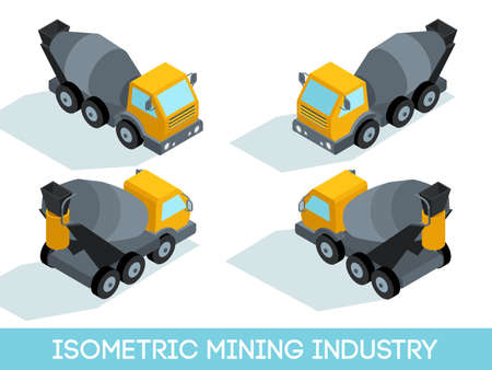Isometric 3D mining industry icons set 6 image of mining equipment and vehicles isolated vector illustration.