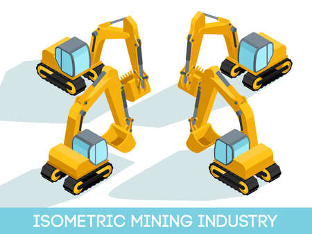 Isometric 3D mining industry icons set 5 image of mining equipment and vehicles isolated vector illustration.