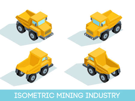 Isometric 3D mining industry icons set 4 image of mining equipment and vehicles isolated vector illustration. Illustration