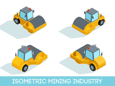 Isometric 3D mining industry icons set 3 image of mining equipment and vehicles isolated vector illustration.