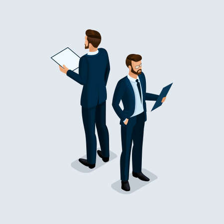 Isometric 3D people, businessman, of a corporate clothing, head of studies contract hairstyle. Front view rear view isolated on a light background.