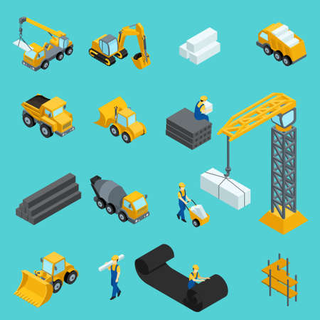 Set Isometric icons for construction workers, crane, machinery, power, transportation, clothing, special machinery. Vector illustration Çizim