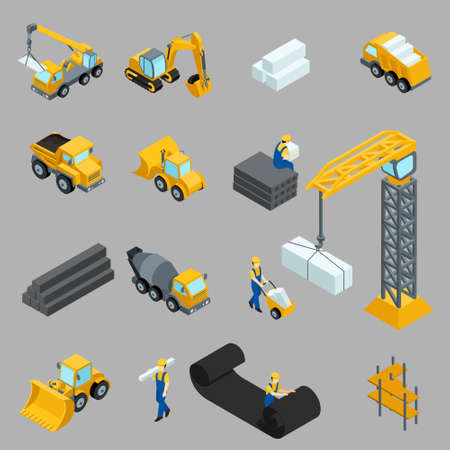 建設作業員、クレーン、機械、電力、輸送、服、灰色の背景にバスの等尺性のアイコンを設定します。